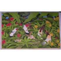 olie maleri fra Bali: Fuglene