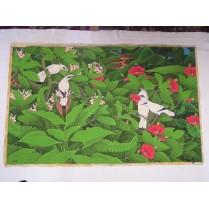 olie maleri fra Bali: Hvide Fugle