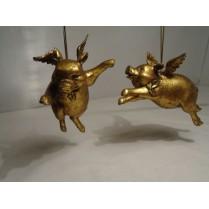 Julepynt: To glade grisebasser i guld med vinger